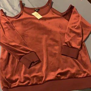 Torrid Burgundy Cold Shoulder long sleeve top.